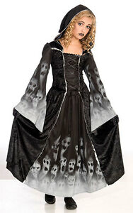 Girls-Black-Vampire-Ghost-Halloween-Gothic-Medieval-Costume-Outfit-AGE-8-13-NEW