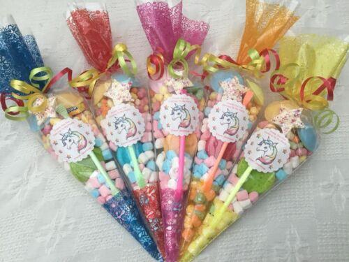 Free Sweety Bag 10 X Unicorn Rainbow Theme Pre Filled Sweet Cones Personalised