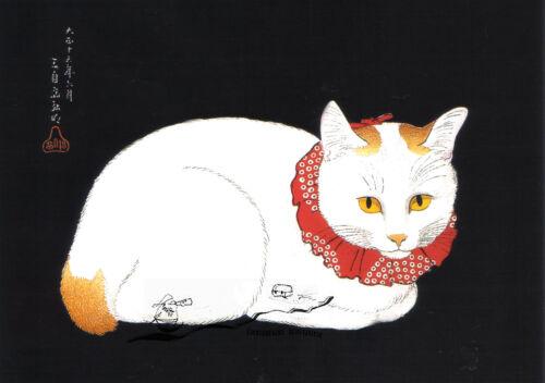 Katze mit rotem Halsband Kunstpostkarte Hiroaki