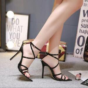 New-Womens-Lace-Up-Ankle-Strap-Sandals-Ladies-Stilettos-Peep-Toe-Shoes-Q