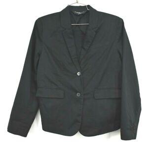 Norma-Kamali-Womens-Solid-Black-V-Neck-Button-Front-Long-Sleeve-Blazer-Size-16