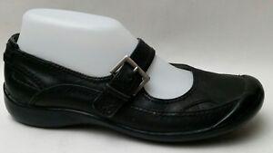 Azalia-Womens-7-M-Shoes-Mary-Jane-Black-Leather-Buckle-Strap-Loafer-Flats-Sandal