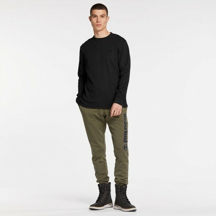 NWT Timberland Men/'s Classic Solid Crew Long Sleeve Tee Waffle Shirt A1MO8 $68