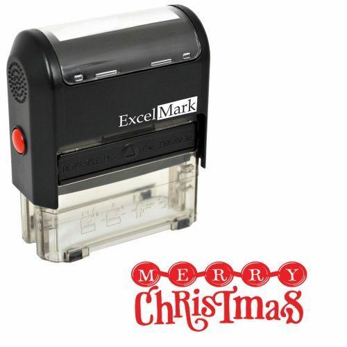 NEW ExcelMark MERRY CHRISTMAS Self Inking Christmas Rubber Stamp A1539Red Ink