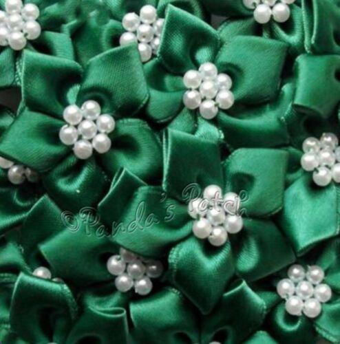 Cinta De Raso Poinsettia Flores Con Cuentas De Perla elegir colour//pk Tamaño libre de envío