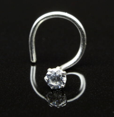 single stone cz Silver nose Piercing corkscrew Nose Ring Stud L Bend nase ring