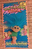 Vintage Troll Doll NIB Clip On Tag Along Leader Toy RARE Collectible Blue Hair