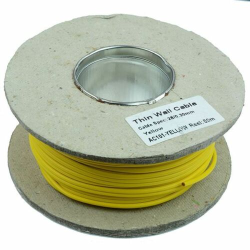 Yellow 1mm Thin Wall Cable Wire 32//0.2mm 50M Reel 16.5A