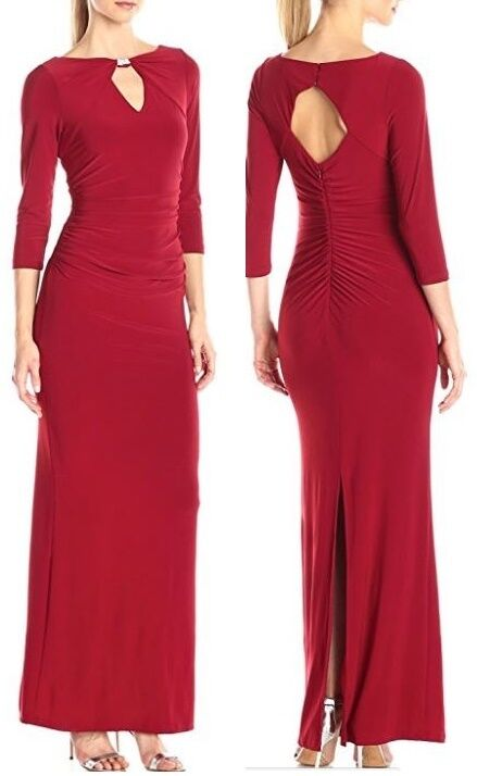 Marina rot Stretch Jersey Formal Gown Dress w Center Front & Back Keyhole -