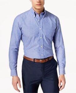$95 Club Room Men Regular-Fit Blue White Stripe Button Dress Shirt 16.5 32//33 L