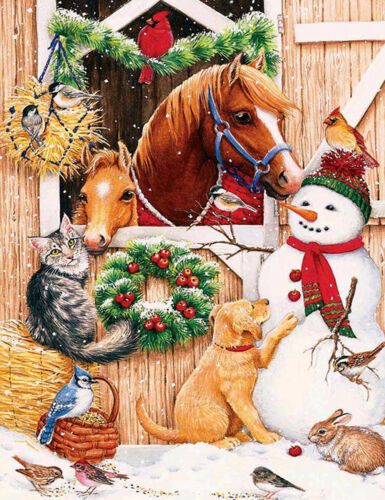 Full drill DIY 5D Diamond Painting Christmas Snowman Dog Cat Horse Parrot H979