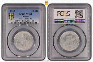 Lodz 10 Mark 1943 Aluminium PCGS MS61 53122