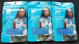 3-Mission-ON-THE-GO-Cooling-Towels-Blue-8-034-x-30-034-Machine-Washable-Reusable