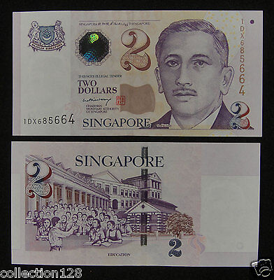 SINGAPORE 2 Dollars Banknote World Paper Money UNC Currency BILL Pick p28 1992