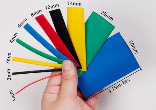 530 un 2:1 Tubo Tubo de envolver Calor Shrink Envoltura de cable Surtido Kit 5 Colores 8 Tamaños