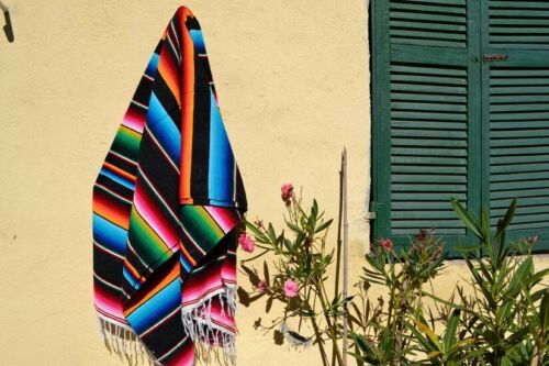 New Genuine Sarape Serape Mexican Blanket Saltillo Southwestern Hot Rod BLK L XL