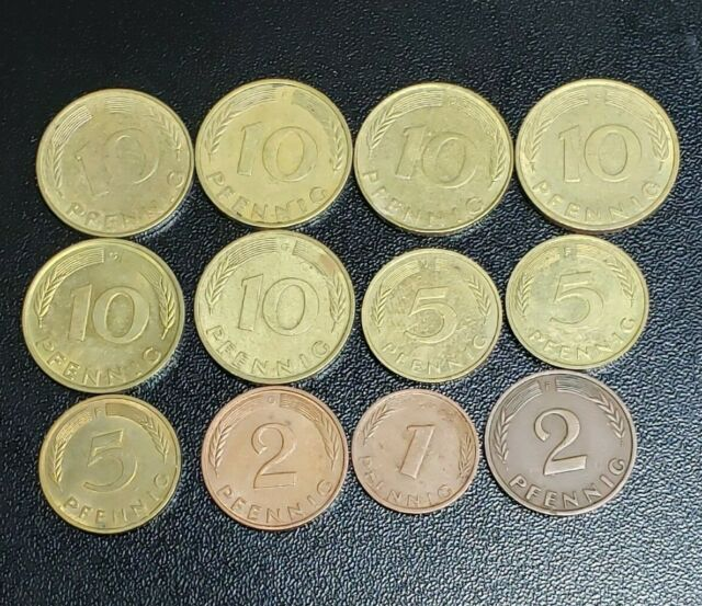 LOT OF 12 GERMANY 10 5 2 & 1 PFENNIG 1976 1950 1972  1979 1978 1979 1981 1980