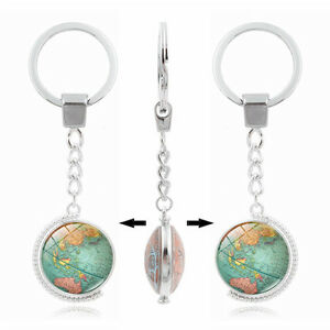 Women vintage world map globe double sided rotate cabochon keyring image is loading women vintage world map globe double sided rotate gumiabroncs Gallery