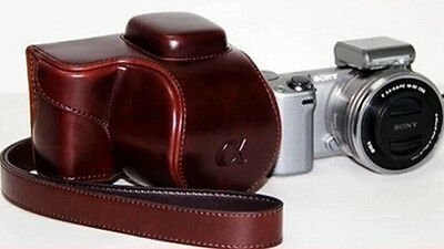 (COFFEE) Camera Compact Leather Case Pouch Bag For SONY NEX 5R 5T + STRAP