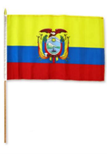"12x18 12/""x18/"" Ecuador Stick Flag wood staff"