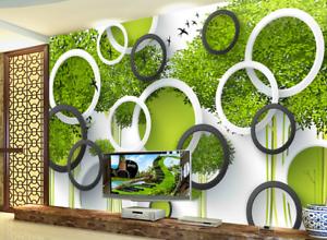3D Green Trees Rings 7 Wall Paper Murals Wall Print Wall Wallpaper Mural AU Kyra