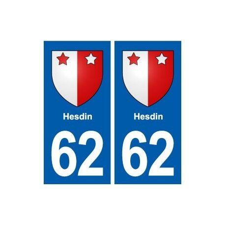 62 Hesdin blason autocollant plaque stickers ville -  Angles : droits