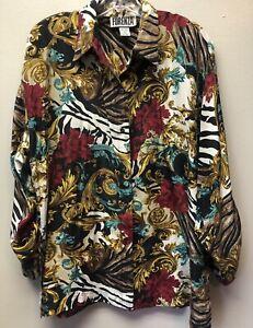 Vintage-Forenza-Women-039-s-Size-M-100-Silk-Blouse-Floral-Paisley-Scroll-Print