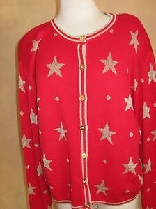 Ugly-Christmas-First-Issue-Vintage-Gold-Stars-on-Red-Sweater-Size-M-Medium
