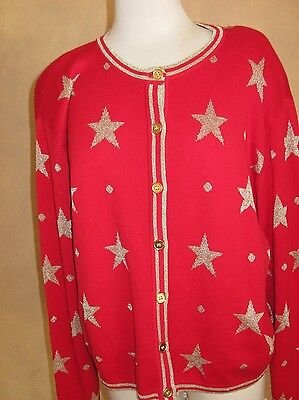 VTG FIRST ISSUE GOLD STARS ON RED SWEATER SIZE MEDIUM