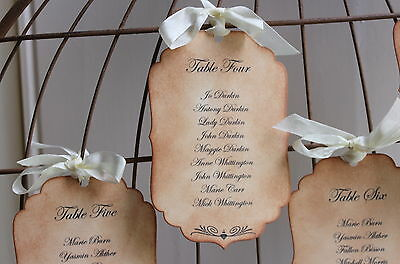 TABLE PLAN TAGS-LABELS-Vintage Style-Wedding-Personalised-Handmade-Unique Design