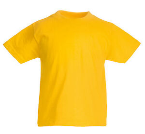 FRUIT-OF-THE-LOOM-PLAIN-YELLOW-CHILDS-T-SHIRT-ALL-SIZES