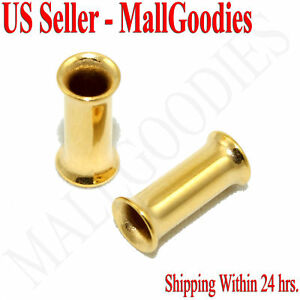 1112-Surgical-Steel-Gold-Color-Double-Flare-Tunnels-6-Gauge-6G-Ear-Plugs-4mm