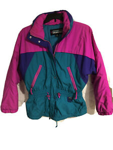 Pacific Trail Womens Ski Jacket Wind Breaker Neon Vintage 90's ZIP Sport