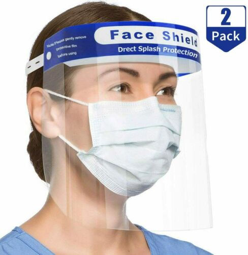 2 PCS Safety Full Face Shield HD Clear Reusable Protection Cover Face Eye Helmet