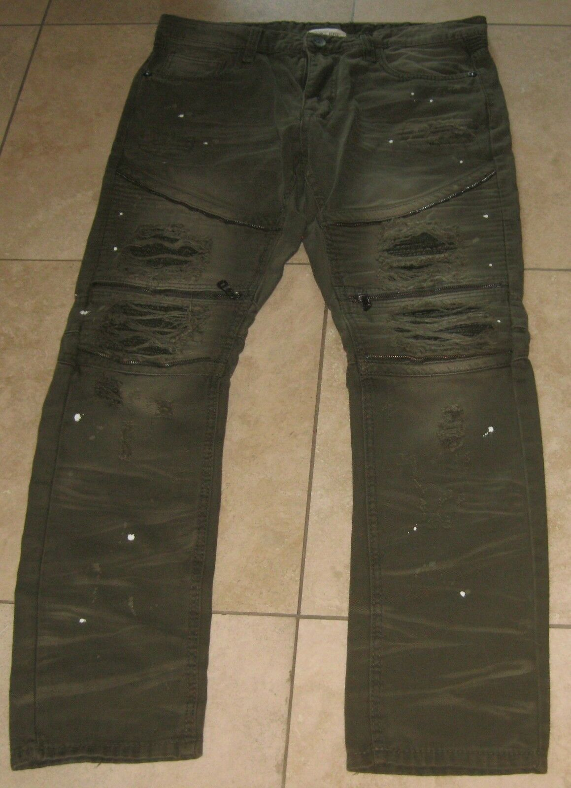 New Smoke Rise Ripped Olive Denim Jeans  Size 38 32