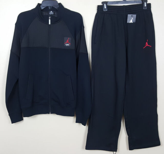 dfaf192474fb4f NIKE JORDAN IV 4 CAGED FLIGHT SWEATSUIT JACKET +PANTS BLACK RED RARE (SZ  MEDIUM