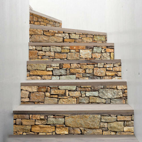 6Pcs 3D Cobblestone Stair Stickers Adhesive Decals Home Staircase Decor Trendy