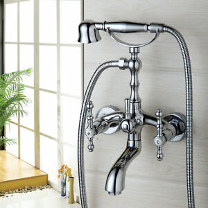 Wall-Mount-Bathtub-Shower-Faucet-Telephone-Hand-Held-Shower-2-Lever-Mixer-Taps