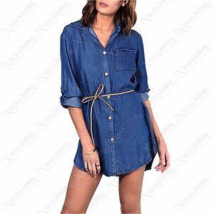 Bleu Hilo Femmes Asymétrique Chemise Robe pour en Ourlet Jeans Neuf UOZx1qwZv