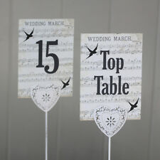 Wedding Table Numbers Vintage Music Swallows Top Table 1 - 15 Rustic Decoration