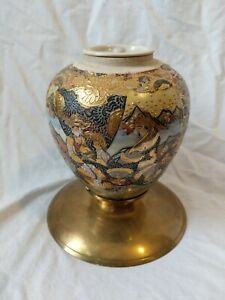 "Vintage 7"" Satsuma Japanese Porcelain INCENSE CENSER VASE Brass laquer tea caddy"