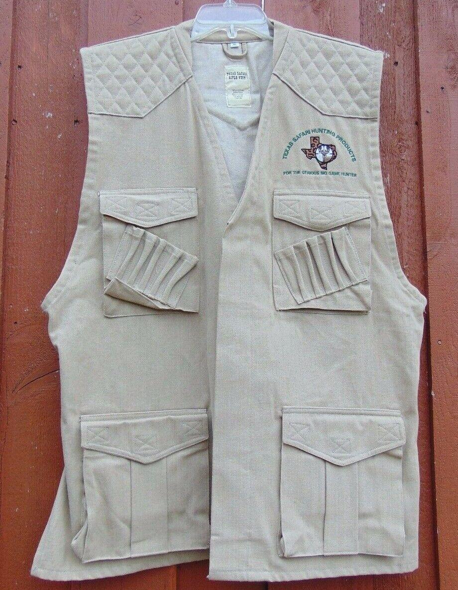 Texas  Safari Rifle Vest Men's Size XL Hunting Products Big Game Hunter Tan  unique design