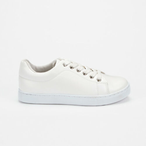 women white trainer lace up tennis leisure fashion casual shoe injected sole
