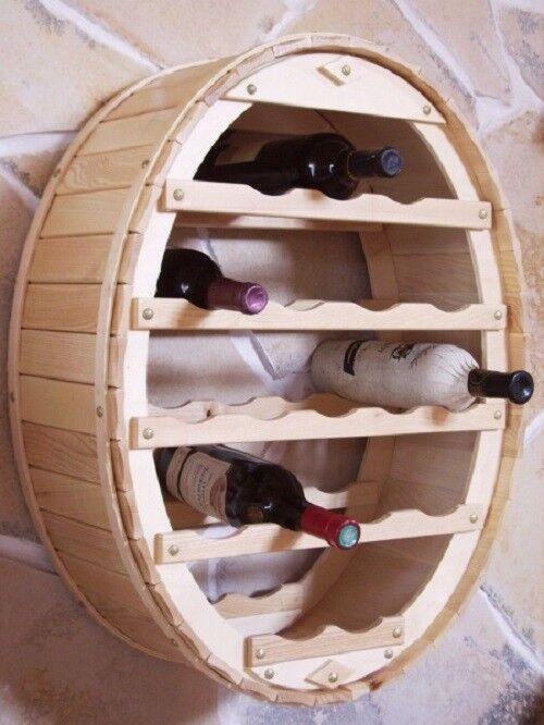 Étagère à vin tonneau pour pendre pour 18 Bouteilles Nature laqué bouteilles support tonneau