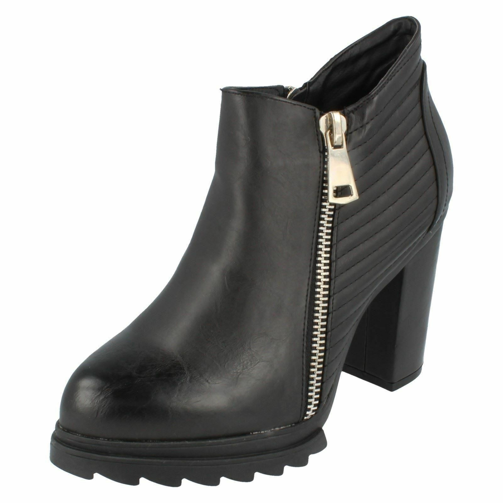 Ladies F50442 black synthetic platform ankle boot by Spot On Now £19.99