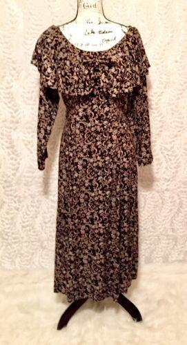 Vintage Hollywood & Vine Brown Floral Print Dress