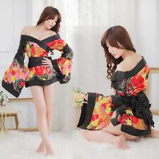 Costume Completo Black Fiori Nero Kimono Giapponese Cosplay Japanese Completino