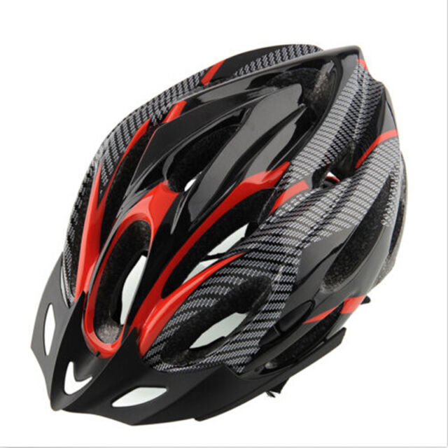 Cycling Bicycle Adult Mens Bike Helmet Red carbon color With Visor Mountain FF