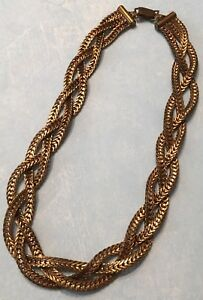 3715c6e73db6e Details about Vintage Braided V Link Rose Gold Plate? Brass 15