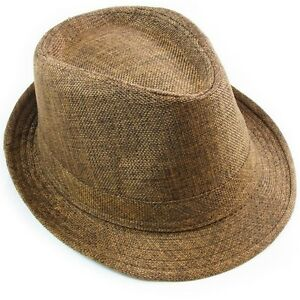 66c93756a3da40 Cotton Fedora Hat Cap trilby Mens BROWN Womens Unisex fashion Canvas ...